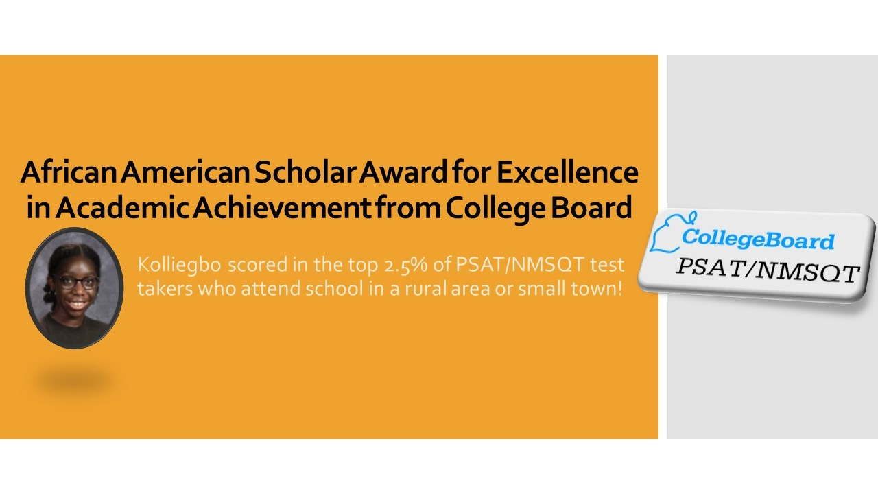 African American Scholar Award for Excellence in Academic Achievement from College Board
